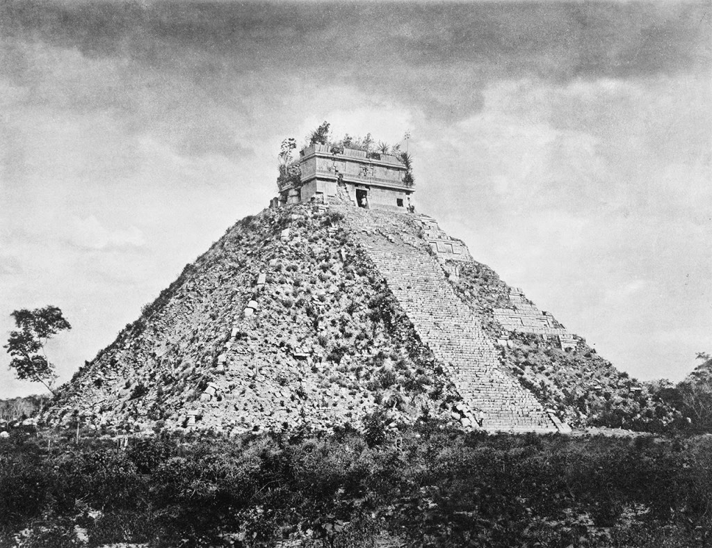 El Castillo at Chichen Itza, taken during a Maudslay expedition.