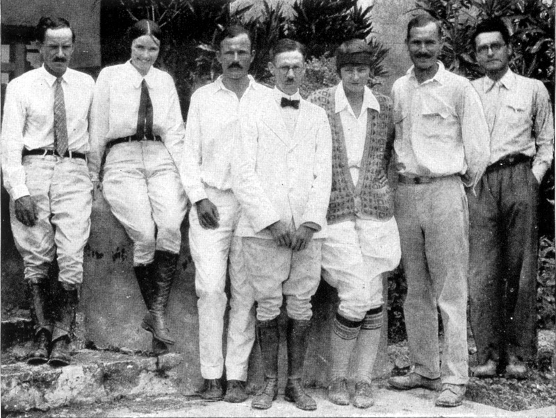 Sylvanus Morley (center, in bow tie) with fellow archaeologists and others from the Carnegie Institution restoration project at Chichen Itza